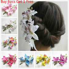 Women's Butterfly Orchid Flower Hair Clip Bridal Wedding Prom Party Barrette Pin