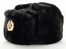 RUSSIAN WINTER HAT USHANKA MILITARY STYLE WITH SOVIET BADGE