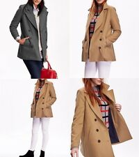 Old Navy Womens Wool Long Classic Pea Coat Peacoat Double Breasted Back Vent NWT