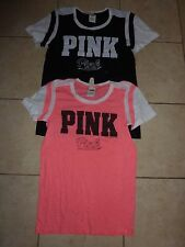 """VICTORIAS SECRET PINK GRAPHIC PERFORATED """"PINK"""" """"PINK"""" SCOOPNECK NWT"""