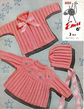 "Emu 8024 Vintage Baby Knitting Pattern 3 ply 19-20"" Cardigans Bonnet 9-18 months"