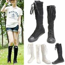 PUNK EMO Women Shoes Canvas Boots Zip Lace Up Knee High Sneaker World Trend Hot