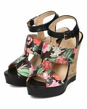 New Women Liliana Derby-14 Floral Peep Toe Strappy Panel Wedge Sandal