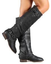 Breckelles Outlaw-81 New Women Leatherette Buckle Zipper Riding Knee High Boot