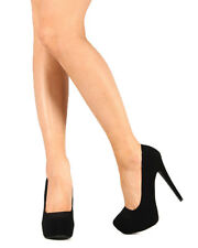 Qupid Sanity-01 New Women Nubuck Almond Toe Stiletto Heel Platform Pump