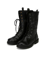 Little Angel Jill-717F New Girl Leatherette Lace Leopard Fold Cuff Military Boot