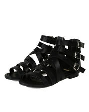 Breckelles Covina-14 New Women Leatherette Buckle Strappy Gladiator Flat Sandal