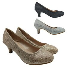 GIRLS CHILDRENS KIDS HEELS BRIDESMAID DIAMANTE GLITTER PARTY WEDDING SHOES SIZE