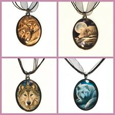 New Lisa Parker Artwork Wolf Picture Cabochon Pendant Necklace in Gift Pouch