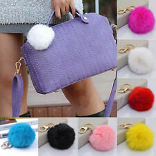Fashion New Rabbit Fur Ball Cell Phone Car Handbag Pendant Key Chain Ring PomPom