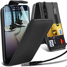 Top Flip Quality PU Leather Phone Case Cover+Stereo Headphones for Samsung