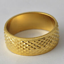 Authentic Yellow Gold Filled Womens Mens Scrub Rings Size7 8 9 10 Free Shipping