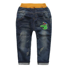 Kids Girls Toddlers Cartoon patch Denim Jeans Pants Embroidered Trousers P1171