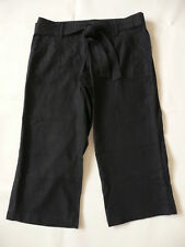 BNWT NEXT Maternity Low Rise Under Bump Black Cropped Linen Trousers with Belt
