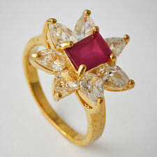 Beautiful Womens Yellow Gold Filled Red CZ Promise Love Band Ring Size 7-9