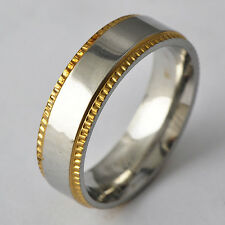 Tooth Type Men's Yellow/ White Gold Filled Band Promise Love Band Ring Size 8-11