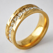 Posh Womens Yellow Gold Filled Clear CZ Band Promise Love Band Ring Size 6-9