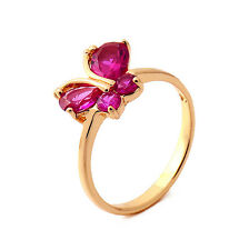 Fashion Butterfly 18K Yellow Gold Plated Garnet Round CZ Promise Love Band Ring
