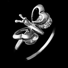 Fashion White Gold Filled White Cubic Zirconia Butterfly Womens Ring Size 5-9