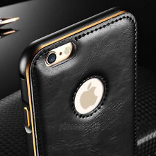 Luxury Leather Aluminum Metal Bumper Frame Case Cover for iPhone 6 6S Plus 5 5S