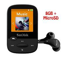 SanDisk Clip Sport 8GB Black MP3 Player+SanDisk MicroSD card– Genuine &New