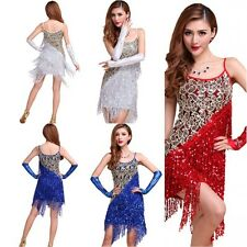 Sequins Latin Dress Rhythm Ta Salsa Ballroom Dance Dress Competition Costume L66