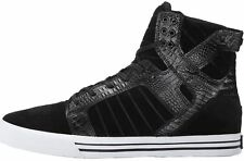 Supra Skytop Black Croc White Mens Suede Skate Trainers Boots