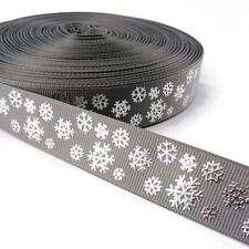 Buddly Crafts 22mm Silver Foil Snowflakes Grosgrain Ribbon - 2m