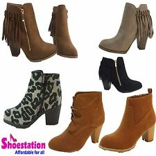 Womens Fashion Shoes Boots Ankle Bootie Lace Up Wedge Comfort Heel Tan Black NEW