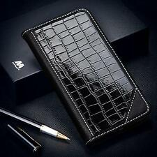 GENUINE LEATHER REAL COW-HIDE CROCODILE EMBOSSED WALLET FLIP CASE WITH STAND