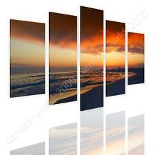 COTTON CANVAS  Split 5 panels Florida Oceans Sunset 5 Panels gallery wall art