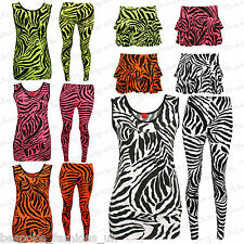 Ladies Women's Animal Zebra Neon Leggings, Frill Mini Skirt, Top SOLD SEPARATELY