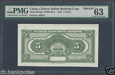 China , Chinese Italian Banking Crop , 5 Yuan ND 1921 PS254p Proof Uncirculated