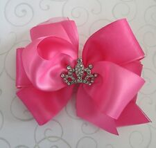 Princess tiara crown hair bow satin & organza rhinestone Hot Pink 5 inch Cici