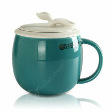300ml Restorative Green Blue Ceramic Porcelain Tea Mug Cup & lid Infuser Filter