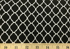 Black White Moroccan Quatrefoil Cotton Fabric By the Yard or Half Yard w1/36