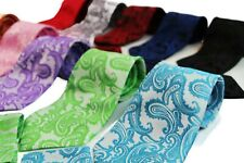 PAISLEY MENS MATCHING NECK TIE SET: NECKTIE + POCKET SQUARE HANKY BLACK WEDDING