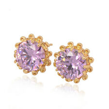 Flower 18K Yellow Gold Plated Purple Color Round CZ Stud Earrings