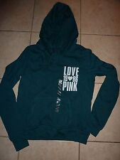 """VICTORIAS SECRET PINK APPILQUE """"LOVE PINK"""" 1986 PULLOVER LIGHT WEIGHT HOODIE NWT"""