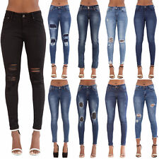 NEW WOMENS LADIES JEANS FADED SLIM FIT SKINNY DENIM SIZE 6 8 10 12 14
