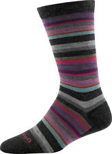 USA DARN TOUGH 1642 BLACK Sassy Stripe Crew Light Womens Socks Womens Med M Wool