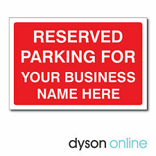 Personalised Reserved Parking For Your Business Name Sign, Custom, Bespoke, Red