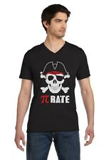 Pi-Rate - Funny Math Pirate Skull and Crossbones V-Neck T-Shirt Cool