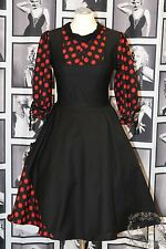 Rockabilly Kleid Petticoat 50er Vintage Party Tanz Schwarz/Rot Dots Gepunktet M