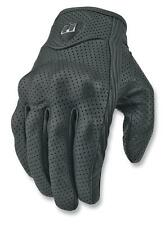 New Icon Men's Pursuit Leather Perforated Motorcycle Riding Gloves