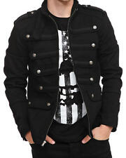 Handmade Men Black Guard Military Jacket Steampunk Vintage Pea Coat 100% Cotton