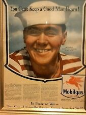 1943 Mobil gas color advertisment Beautifully Framed and Ready for Hanging!
