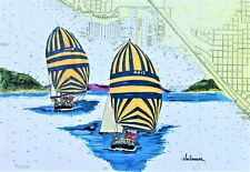 NAVY SAIL TRAINING SLOOP ART PRINT Sailor Boat Spinnaker USN Ship Nautical Gift