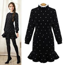 Autumn Winter Trendy Womens Korean Style Long Sleeve Woolen Polka Dot Mini Dress