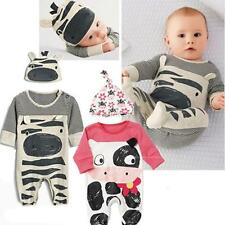 Cute Cartoon Baby Boys Girls Long Sleeve Rompe +Hat Jumpsuit Bodysuit Outfit Set